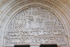 Tympanum sculpture of the Last Judgment. Abbey Church of St. Pierre, Beaulieu sur Dordogne, France Stock Photo
