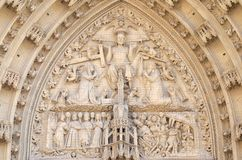 Last Judgment. The tympanum shows the Last Judgment, portal of the Marienkapelle in Wurzburg, Bavaria, Germany royalty free stock image
