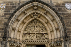 Tympanum of St Peter and St Paul basilica in Vysehrad Stock Photo