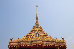 Tympanum. With thai architecture at wat sawang arom pathumtanee province, Thailand stock photo