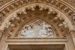 Tympanum of Zagreb cathedral (XVIII c.). Croatia. Tympanum above the entrance of Zagreb Cathedral (circa XVIII c.), Croatia Stock Images