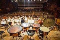 Tympany i konserthallen Arkivbilder