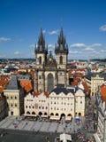 Tyn教会的看法在布拉格,捷克 库存图片