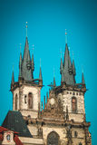 Tyn Cathedral in Old Town Square. Prague, Czeh Republic. Old building in center of Europe Royalty Free Stock Photo