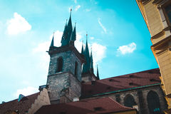 Tyn Cathedral in Old Town Square. Prague, Czeh Republic. Old building in center of Europe Stock Photo