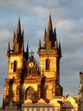 Tyn Cathedral Prague. Tyn Cathedral by sunset in Prague, Czech Republic royalty free stock photography