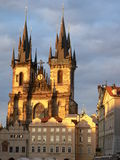 Tyn Cathedral Prague. Tyn Cathedral by sunset in Prague, Czech Republic Stock Photography