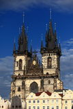 Tyn chapel in Prague. Tyn chapel rising over the Prague old square town Royalty Free Stock Image