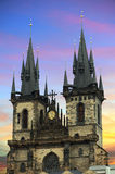 Tyn Church. In Prague at sunset Royalty Free Stock Image