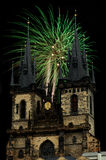 Tyn Church. In the New Year's Eve Royalty Free Stock Images
