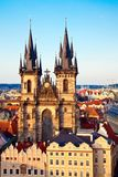 Tyn Church From Above Royalty Free Stock Images