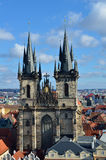 Tyn church  in city of Prague. Front view. Stock Photo