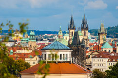 Tyn church. Cityscape view on the old town of Prague in Czech Re Royalty Free Stock Images
