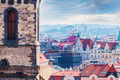 Tyn Church details against the backdrop of the city, Prague Royalty Free Stock Photo
