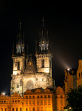 The Tyn Church in the light of lanterns evening in Prague Royalty Free Stock Photo