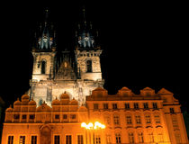 The Tyn Church in the light of lanterns evening in Prague Stock Photography