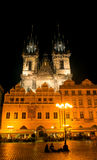 The Tyn Church in the light of lanterns evening in Prague Stock Image