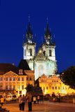 Tyn Church at night, Prague Old City. The Church of Our Lady Before Tyn, or Tyn Church, dominates one side of the Old Town Square. The two spires of this Royalty Free Stock Photo