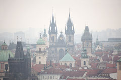 Tyn Church and Old Town Hall in Prague, Czech Republic. Stock Photos