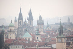 Tyn Church and Old Town Hall in Prague, Czech Republic. Royalty Free Stock Images