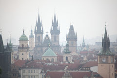 Tyn Church and Old Town Hall in Prague, Czech Republic. Royalty Free Stock Image