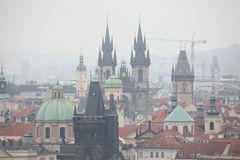 Tyn Church and the Old Town Hall in Prague, Czech Republic. Royalty Free Stock Image