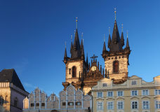 Tyn church, Old Town square, Prague Royalty Free Stock Image
