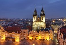 Tyn church on Old town square Stock Photography