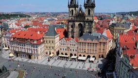 Tyn Church on Old Town Square, Prague,. Tyn Church on Old Town Square from above, Prague, Czech Republic. Towers of Church Of Our Lady Before Tyn In Old Town stock video