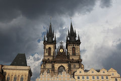 Tyn Church in Old Town Square in Prague. Stock Photography