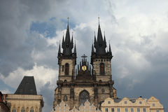 Tyn Church in Old Town Square in Prague. Stock Photos