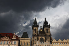 Tyn Church in Old Town Square in Prague. Royalty Free Stock Photo