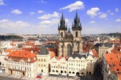 Tyn Church on Old Town Square, Prague, Czech Republic Stock Photography