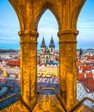 Tyn Church and Old Town Square, Prague, Czech Republic. Tyn Church and Old Town Square view from a Tower`s window, Prague, Czech Republic Royalty Free Stock Image