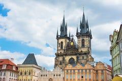 Tyn Church in Old Town Square Prague Stock Photos