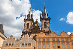 Tyn Church in Old Town Square Prague Stock Photo