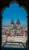 Tyn church at old town square. Royalty Free Stock Images