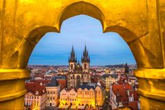 Tyn Church and Old Town Square, Prague, Czech Republic. Tyn Church and Old Town Square view from a Tower`s window, Prague, Czech Republic Royalty Free Stock Photos