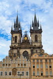 The Tyn Church in Prague on a blue sky background Stock Image