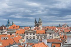 Tyn Church, Prague, morning. Famous view of the Tyn Church in Prague, Czech Republic Royalty Free Stock Photography