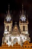Tyn Church Prague. The Tyn Church in Prague at night stock image
