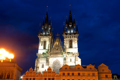 Tyn Church in Prague at night. Night shot of the Church of Our Lady before  Tyn in Prague Stock Photography