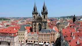 Tyn Church, Prague. Tyn Church on Old Town Square from above, Prague, Czech Republic. Towers of Church Of Our Lady Before Tyn In Old Town Square, Prague,Czechia stock video footage