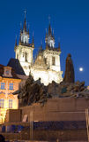 Tyn Church and statue monument Jan Hus at night Old Town Square Royalty Free Stock Images