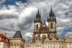 Tyn church view in Prague, HDR Royalty Free Stock Image