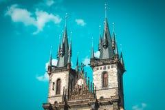 Tyn Kathedrale im alten Rathausplatz Prag, Czeh-Republik Stockbild