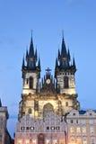 Tyn kyrka i Prague Arkivbilder