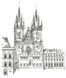 Tyn kyrka i Prague Fotografering för Bildbyråer