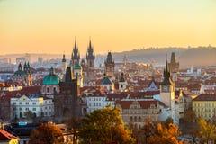Tyn kyrklig och gammal stadfyrkant, Prague, Tjeckien Arkivbild