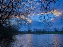 Tyn-y-Llyn Tregaron威尔士在蓝色小时内 库存照片